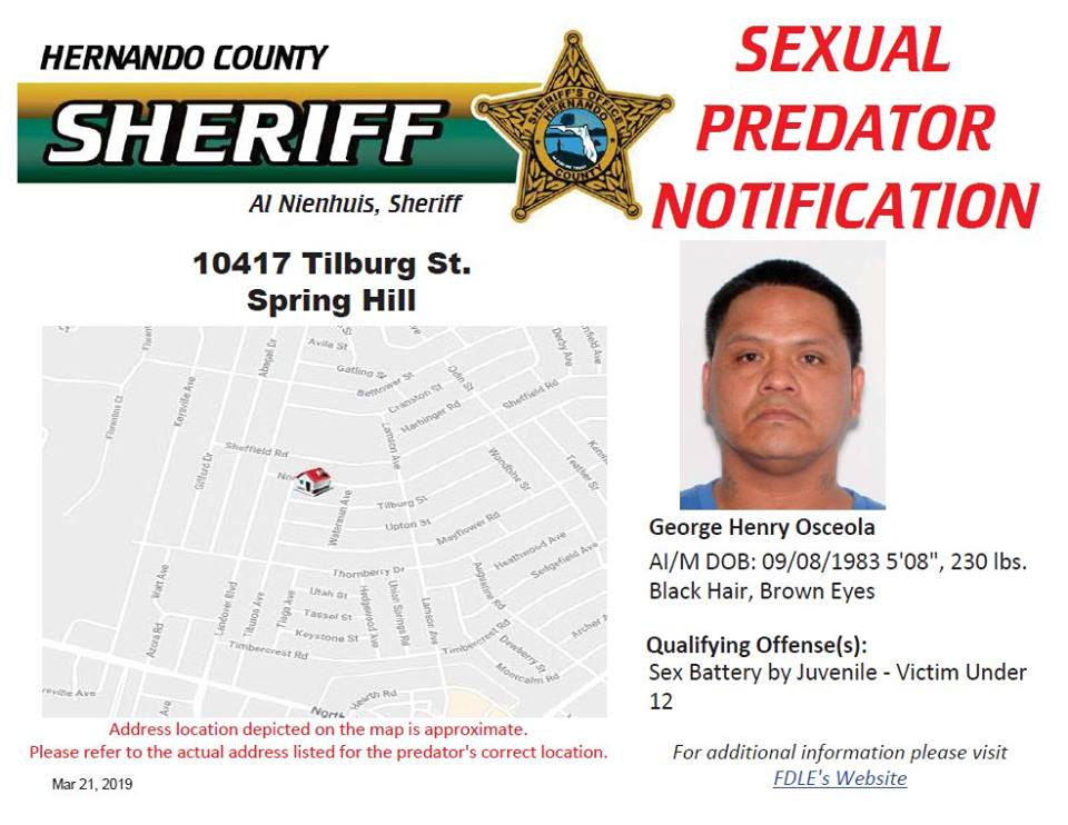 Sexual Predator Notification - George Henry Oseola