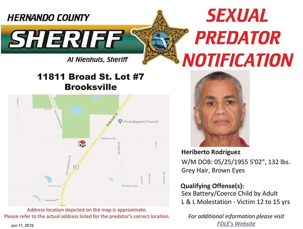 Sexual Predator Notification - Heriberto Rodriguez