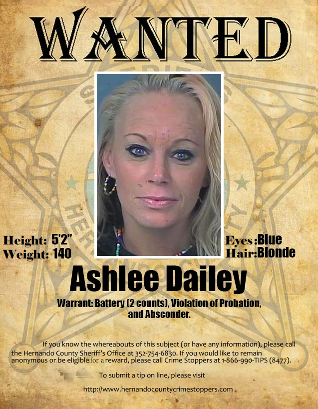 Probation & Parole Wanted Person Ashlee Dailey