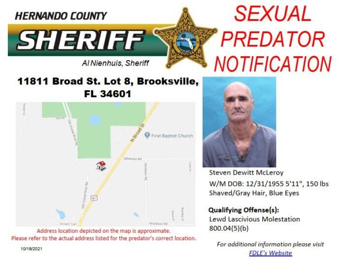 Sexual Predator Change of Address Notification - McLeroy